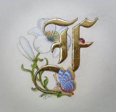 initiale-f-papillon-et-liseron_original. Alphabet Art, Letter Art, Capital Alphabet, Illuminated Letters, Illuminated Manuscript, Creative Lettering, Hand Lettering, Illumination Art, Fancy Letters