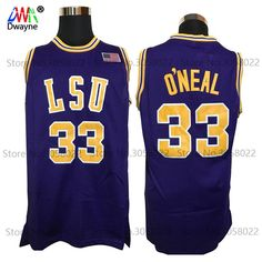 5fa2f3813f57 2017 Men Dwayne Shaquille O neal Cheap Throwback Basketball Jersey Shaq  Oneal  33 LSU Tigers College Jerseys Retro Shirts