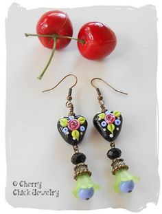 I bought these earrings. LOVE THEM!!! Lampwork Heart earrings Cottage Rose | Cherry Chick Jewelry on ArtFire