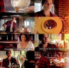 Seeing Damon in red plaid making pancakes for breakfast, the ultimate scene of domesticity, loved this scene it was just perfect & top adorable <3 <3