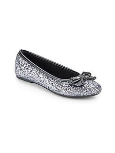 Rachel Shoes Girl's Margie Glitter Flats - Pewter Glitter - Size