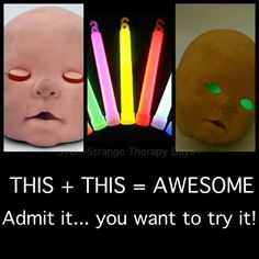"I'm thinking you scour thrift stores for dolls and then remove the heads (maybe cut them in half) and then I would paint it with ""glow in the dark"" paint and then put the light in the back and shove it in bushes out front!  SCARY FUN!"