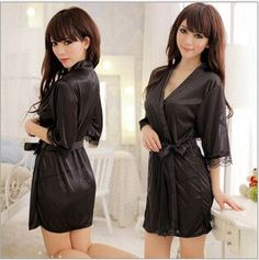 New Fashion 2015 Hot Sexy Lingerie Women's Satin Lace Robe Sleepwear Lingerie Nightdress Pajamas Sexy Nightgown J3145