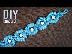 Beaded Flowers Macramé Bracelet Tutorial - Macrame School - YouTube