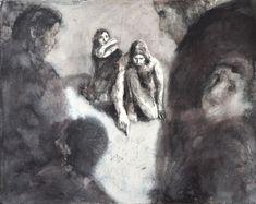 Boissoudy Jésus et la femme adultère Exposition Miséricorde 2016 125 x 100 lavis d'encre sur papier