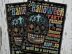 New sugar skull Halloween party invitations.  Custom designed for individual or group events.