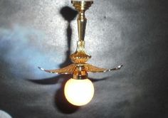 Gold leaf single globe ceiling lamp (EL309) - Lighting. Over 10,000 similar dolls house miniature products available from www.thedollshousestore.co.uk