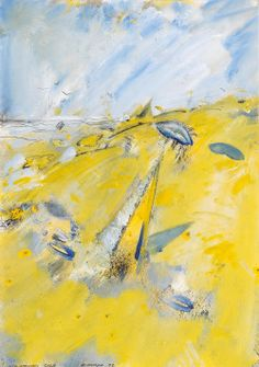 Christian Ludwig Attersee (Austrian, b. 1940), Schlafendes Gelb [Sleeping Yellow], 1992. Mixed media on cardboard, 62.5 x 43.5 cm. Ludwig, Beautiful Artwork, Digital Illustration, Cotton Canvas, Watercolor, Artworks, Painting, Happy, Design