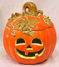 Vintage Halloween Ceramic Covered JOL Candy Jar Gorgeous Design! Circa 1980s #CandyJar