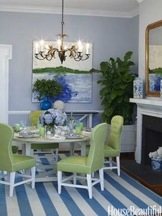 Wonderful Elegant Dining Room Design Ideas 9 image is part of 90 Wonderful Elegant Dining Room Design and Decorations Ideas gallery, you can read and see another amazing image 90 Wonderful Elegant Dining Room Design and Decorations Ideas on website Dining Room Colors, Elegant Dining Room, Dining Room Walls, Dining Room Design, Dining Chairs, Dinning Nook, Kitchen Colors, Blue And White Rug, Blue Green