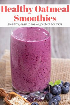 An easy and filling breakfast smoothie made with oatmeal that will keep you energized all morning long. Make them with any fruit you like. Smoothie Recipes With Yogurt, Healthy Fruit Smoothies, Smoothies With Almond Milk, Yogurt Smoothies, Almond Fruit, Vegetable Smoothies, Protein Smoothies, Morning Smoothies, Blackberry Smoothie