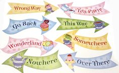 alice in wonderland signs this way that way template - Google Search