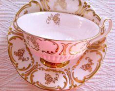 EB & Co Foley 1920's Pink Scroll Tea Cup and Saucer - Edit Listing - Etsy