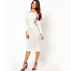Price:$30.99 Material: Linen Color: Black / White Sexy Glamorous Open Back Lace Splicing Slim Formal Dress