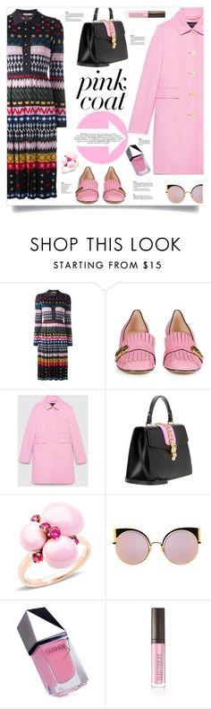 """Gucci Pink Coat"" by kiki-bi ❤ liked on Polyvore featuring Mary Katrantzou, Gucci, Pomellato, Fendi, GUiSHEM, Laura Mercier, gucci, marykatrantzou and pinkcoats"
