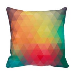 Awesome cool trendy colourful triangles pattern pillows