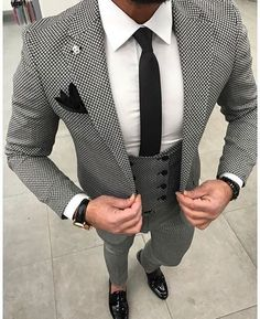 Wedding Suit Tailored Black White pattern Men Suit Groom Wedding Suits for Men Slim Fit 3 Piece Tuxedo Custom Prom Blazer Terno Masculino Prom Blazers, Blazers For Men, Mens Fashion Blazer, Suit Fashion, Fashion Menswear, Fashion 2016, Cheap Fashion, Fashion Shoot, Fashion Ideas