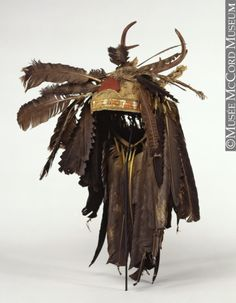 """non-westernhistoricalfashion: """" Headdress Anonyme - Anonymous Eastern Woodlands Aboriginal: Iroquois? century Deer head skin with antlers, tanned hide and thongs, porcupine quills,. Native American Headdress, Native American Clothing, Native American Artifacts, Native American Tribes, Native American History, Canadian History, Native Indian, Native Art, Grands Lacs"""