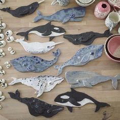 Whale-themed crafts Clay Fish, Ceramic Fish, Ceramic Animals, Ceramic Clay, Ceramic Painting, Ceramic Tableware, Ceramic Pottery, Porcelain Ceramic, Slab Pottery