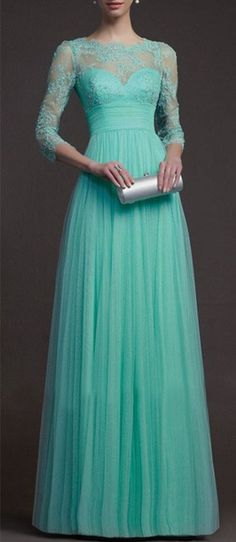 Elegant Green Prom Dress,Middle Sleeves Evening Dress,Lace Beading Prom Dress