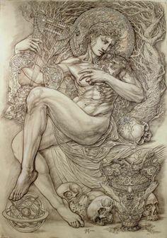 ORPHEUS by PasqualAbbatiello ©Pasquale Abbatiello 700X1000 Mm. Graphite, pencil and white chalk on Ingres paper