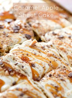 Apple Discover Caramel Apple Sheet Cake This Caramel Apple Sheet Cake recipe is gorgeous to look at with a beautiful golden swirl running all across the top. A true fall favorite. Apple Sheet Cake Recipe, Sheet Cake Recipes, Apple Cake, Sheet Cakes, Apple Bread, Delicious Desserts, Dessert Recipes, Yummy Food, Frosting Recipes