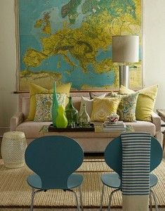 Blue, green and yellow- Possible color inspiration for the dining room.  I even love the map if I could find one in those colors.