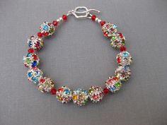 Rhinestones Bracelet Red Swarovski Handmade, $19.99