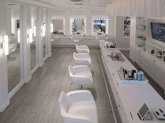 Nails to right. Makeup In back. Wardrobe TO RIGHT Of makeup. Hair Haven behind the mirrored wall to the left
