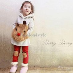 Wholesale Fashion Korean lovely baby girl`s woolly Teddy Bear hoody amp; pants set girl two-piece s, Free shipping, $18.48/Piece | DHgate