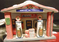 HOWARD OIL COMPANY GAS STATION COCA-COLA COKE TOWN SQUARE CHRISTMAS VILLAGE BLDG