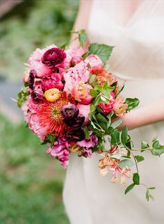 purple-pink-modern-bouquet - Once Wed