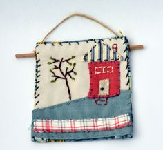 Textile Art Collage - A quiet house on a hill - wall hanging by judithadesigns09 on Etsy