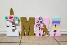 8 inch wood letters hand-painted unicorn theme