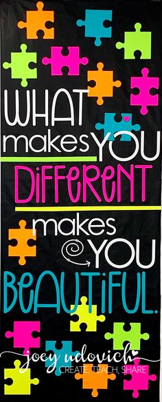 Everyone is different, which is what makes our world beautiful. Celebrate life differences with this great door decor display. Or turn it into a bulletin board or hallway decoration. Great for the elementary, middle, or high school classroom. Inspire ALL students and staff every day! #ClassroomDecor #CelebrateDifferences