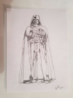 """Here we have a pencil drawing of Darth Vader from the star wars films,    Free uk postage  Dimensions: 9"""" x 12""""  All sketches are done on 100g/m2 sketching paper"""