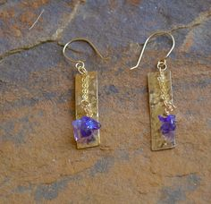 """Amethyst chips, 14-kt gold-filled chain with textured gold-filled rectangles. Earrings approximately 2"""" in length with handcrafted 14-kt gold-filled earwires. Stones may vary slightly."""