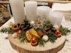 70 simple and popular christmas decorations table decorations christmas candles diy christmas centerpiece christmas crafts christmas decor diy salvabrani Centerpiece Christmas, Candle Centerpieces, Christmas Table Decorations, Christmas Candles, Christmas Wreaths, Christmas Crafts, Christmas Ornaments, Natural Christmas, Simple Christmas