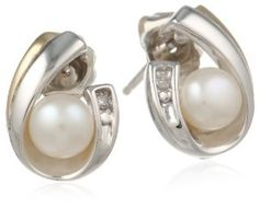 S&G Sterling Silver and 14k Yellow Gold 5mm Freshwater Cultured Pearl and Diamond Earrings (0.01cttw, I-J Color, I3 Clarity) - http://www.wonderfulworldofjewelry.com/jewelry/earrings/sg-sterling-silver-and-14k-yellow-gold-5mm-freshwater-cultured-pearl-and-diamond-earrings-001cttw-ij-color-i3-clarity-com/ - Your First Choice for Jewelry and Jewellery Accessories