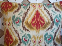 Ikat Pillow Cover in Red-Orange Gold Teal by JRsPillowsandBags