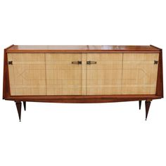 French Art Deco Mahogany with Sycamore Buffet, circa 1940s   From a unique collection of antique and modern buffets at https://www.1stdibs.com/furniture/storage-case-pieces/buffets/