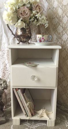 Shabby Single Drawer NightstandWhite bedside by Fannypippin