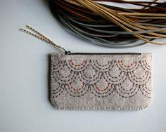 Wool Felt Coin Purse Wallet // Hand by LoftFullOfGoodies on Etsy