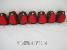 A dozen Christmas Robins   #Tree #ornament #decoration #Christmas #Holiday #handmade #Etsy