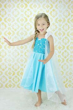 Elsa dress  princess  dress Frozen birthday party dress  or portrait by loverdoversclothing on Etsy https://www.etsy.com/listing/190130541/elsa-dress-princess-dress-frozen
