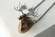 Moose Antlers Necklace 3D Rustic Brass Metalwork by steampunkfunk, $135.00