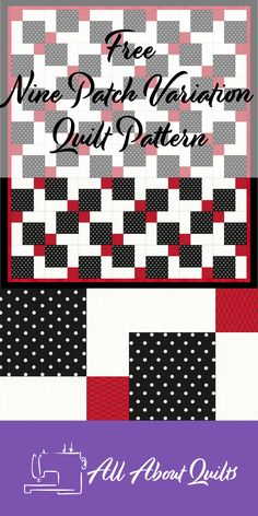 A free Quilt Pattern perfect for the beginner quilter based on the nine patch block Patchwork Quilt Patterns, Quilt Patterns Free, Free Pattern, Quilt Design, Quilting Designs, Black And White Quilts, Black White, Charm Quilt, 52 Weeks