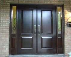 Doors: Solid Black Wood Double Front Entry Doors With Fiberglass Inside And Granite Wall Exterior Decor from Great Home on the Double Front Entry Doors - April 29 2019 at Double Front Entry Doors, Double Doors Exterior, Wall Exterior, Interior Exterior, Interior Design, Exterior Remodel, Interior Paint, Interior Doors For Sale, Interior Barn Doors