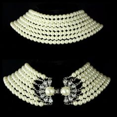 TS-Elegant-Pearl-With-Antiqued-Crystal-Clasp-Choker-Statement-Necklace-149