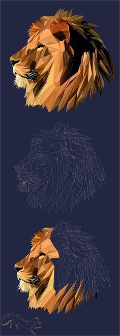 GEOMETRIC ANIMALS Lion Low Poly Art Poligon от MaestroAquarelle